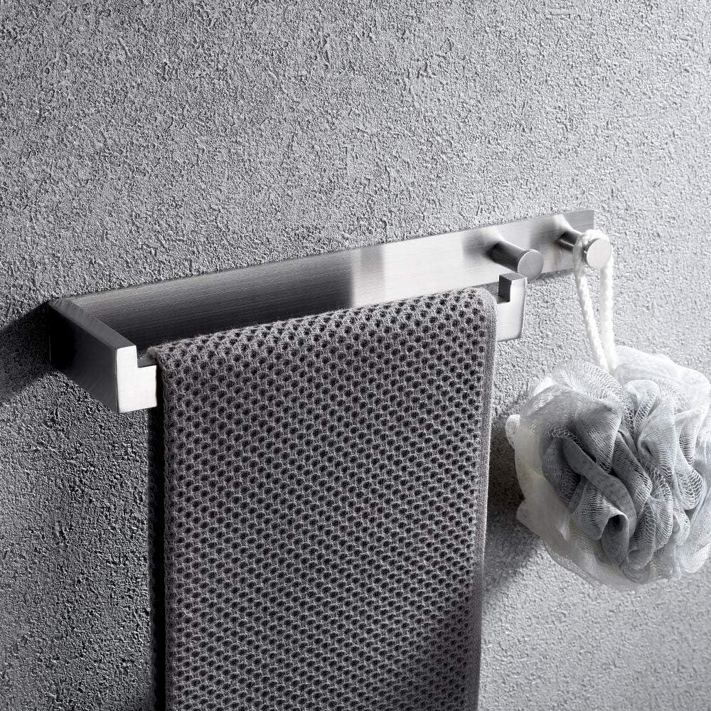 Lolypot Toallero con ganchos, toallero sin taladrar, gancho de toalla autoadhesivo, anillo de toalla de acero inoxidable cepillado sin taladrar, toallero para baño y cocina