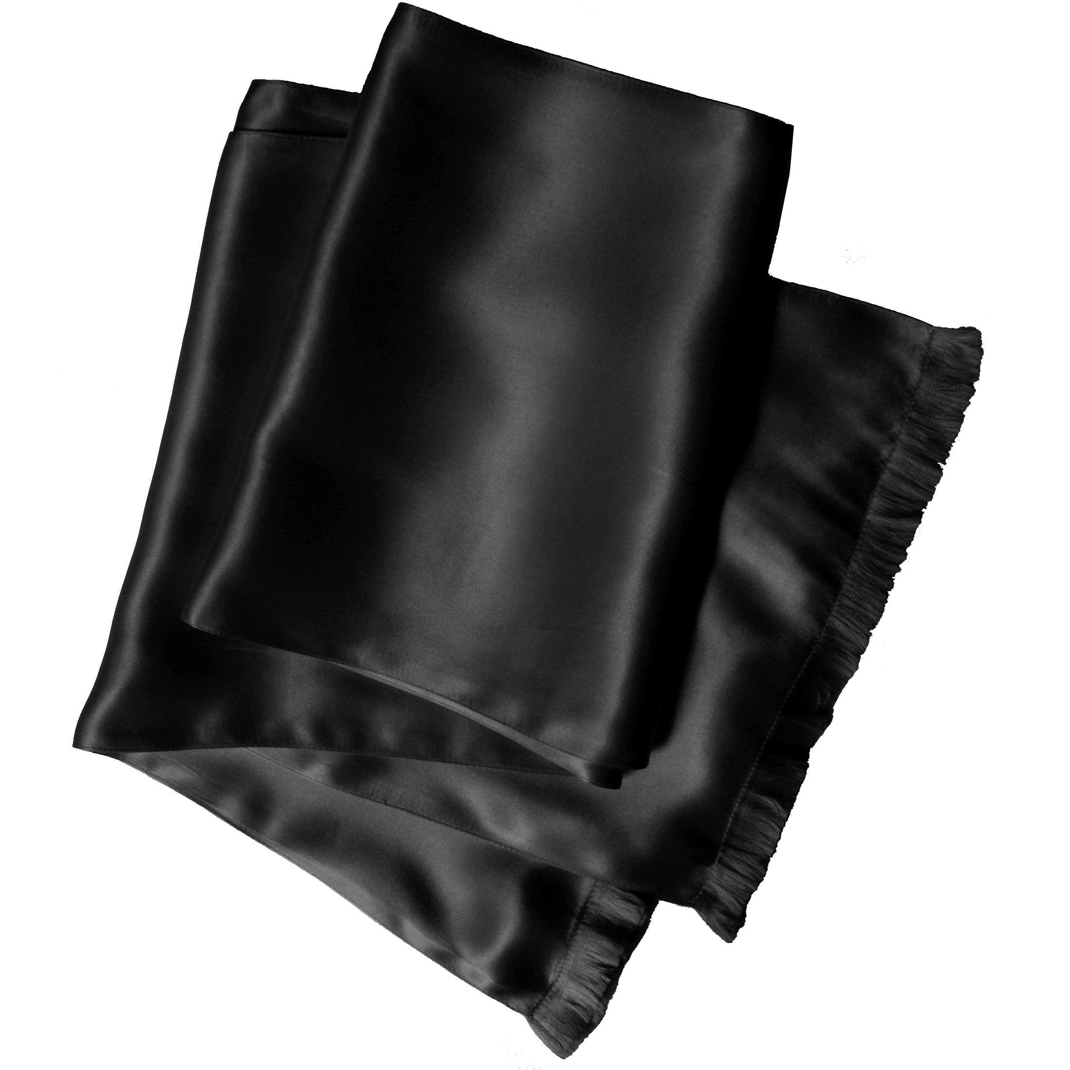 Black Silk Aviator Scarf for Men - Double Layered Satin Silk - Royal Silk