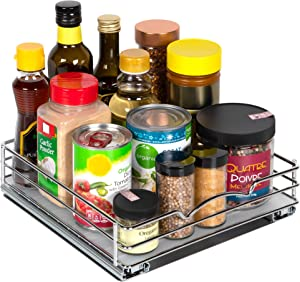 Pull Out Spice Rack Organizer for Cabinet – Heavy Duty Chrome Slide Out Spice Rack 10-3/8