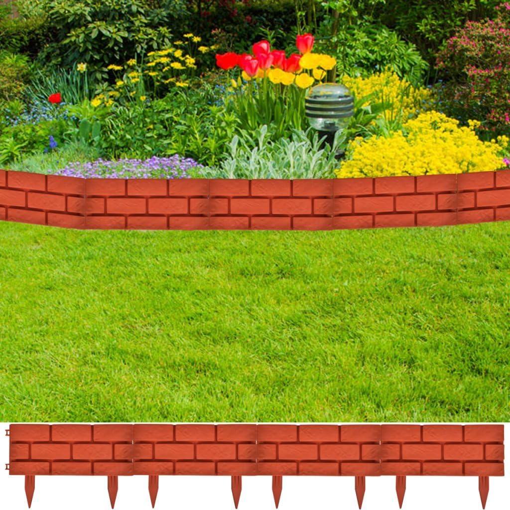 festnight jardín cenefa divisor de césped con diseño de ladrillo ...