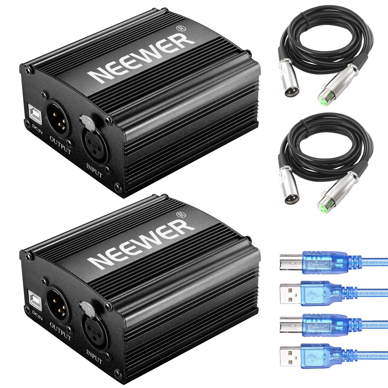 Neewer Lot de 2 48V Alimentation Fantôme 1 Canal avec Cordon USB 1,5 mètres, Câble Micro 3 Broches XLR Mâle à Femelle pour Tous Microphones Condensateur et Equipement de Musique et Sono 90093281