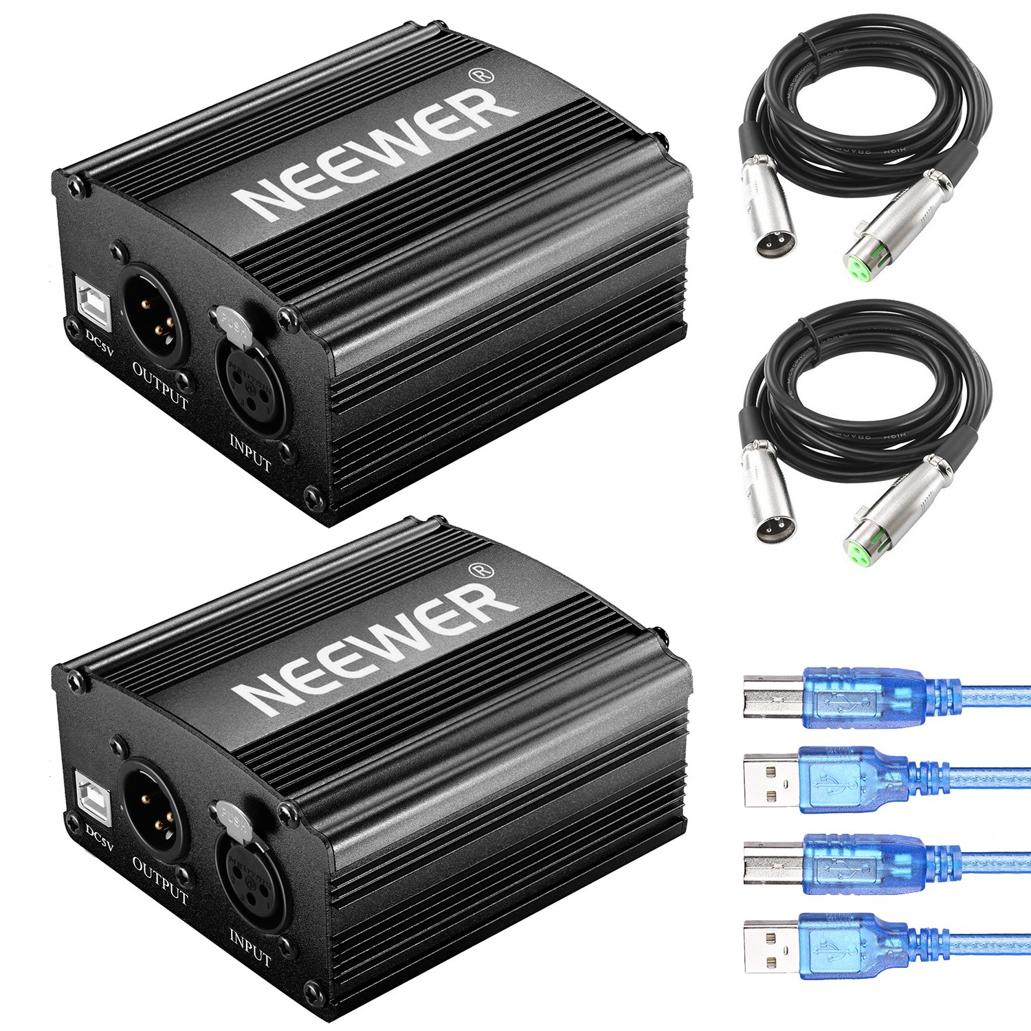 Neewer 2 Packs 1-Channel 48V Phantom Power Supply with 5 feet USB Cable, XLR 3 Pin Male to female Microphone Cable for Any Condenser Microphone Music Recording Equipment by Neewer