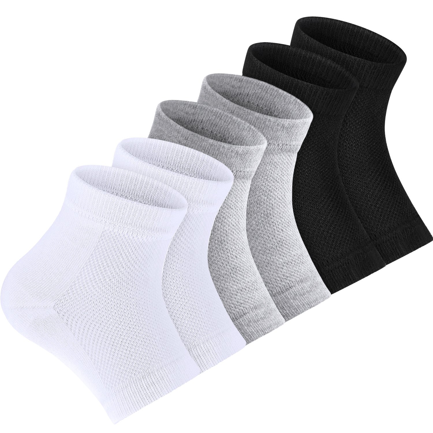 Bememo Soft Ventilate Gel Heel Socks Open Toe Socks for Dry Hard Cracked Skin Moisturizing Day Night Care Skin, 3 Pairs (Black, White, Grey)