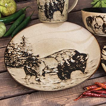 Buffalo Rustic Dinner Plate - Rustic Kitchen Tableware & Amazon.com | Buffalo Rustic Dinner Plate - Rustic Kitchen Tableware ...