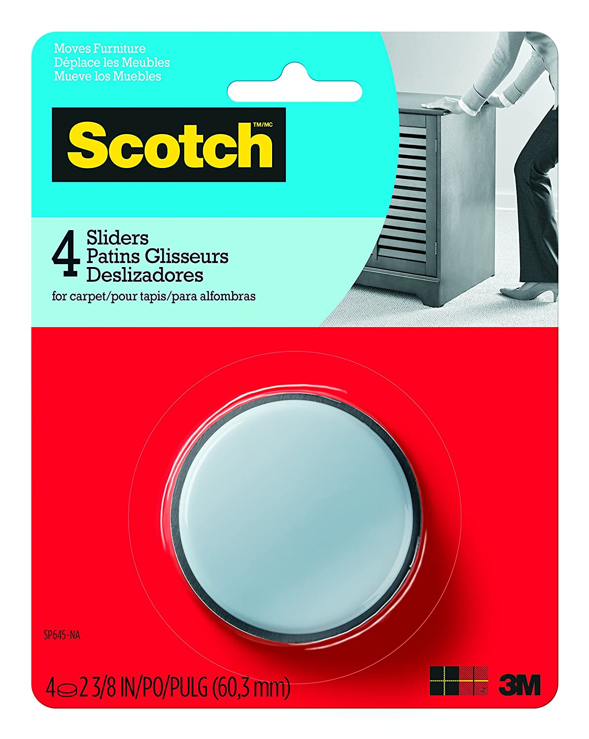 Scotch Mounting, Fastening & Surface Protection SP645-NA Scotch, 2 3/8 in, 4 Self-Stick Sliders
