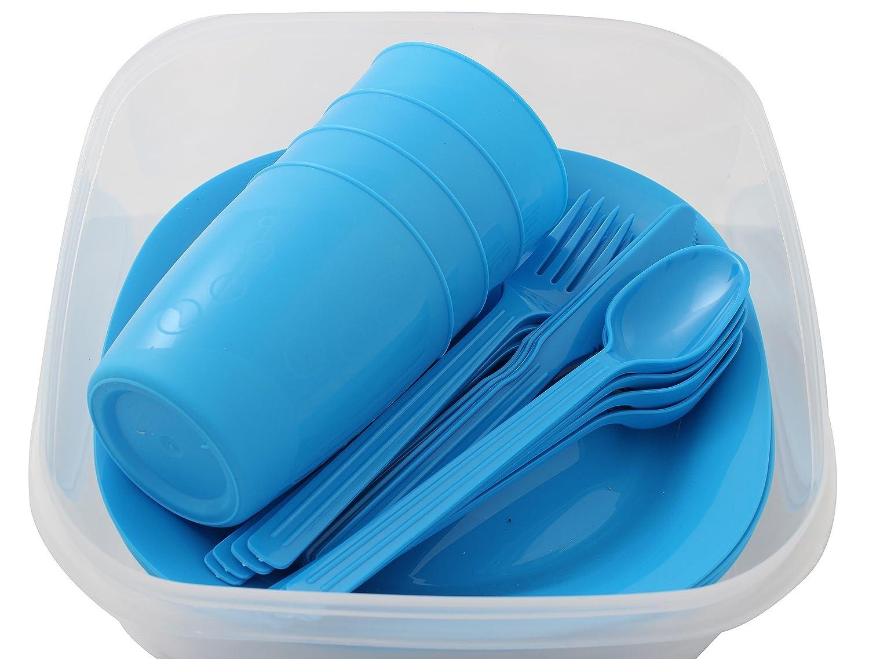 Menz Stahlwaren GmbH Presupuesto lata camping set para 4personas con platos, vaso y cubiertos, verde - 1 unidad, 1 pieza