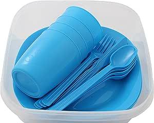 Menz Stahlwaren GmbH Presupuesto lata camping set para 4 personas con platos, vaso y cubiertos, azul - 1 unidad, 1 pieza