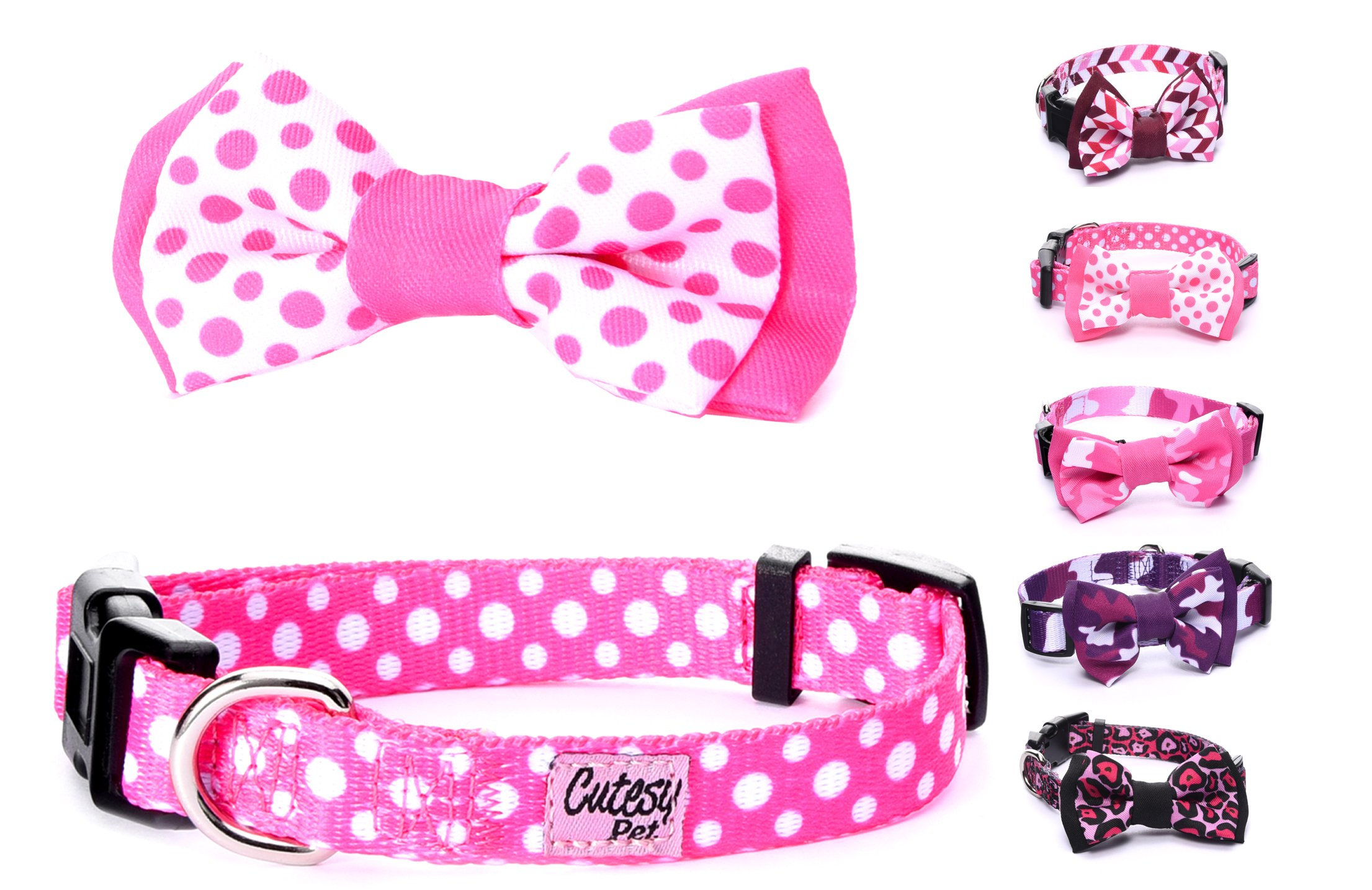 Cutesy Pet | Dog Collar with Adjustable Bow | Comfortable and Strong | Pink Polka Dots | 5 in 4 Different Sizes