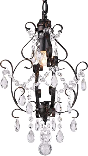 Riomasee Mini Chandelier Bronze Crystal Chandelier 1 Light Elegant Chandelier Crystal Iron Ceiling Light Fixture