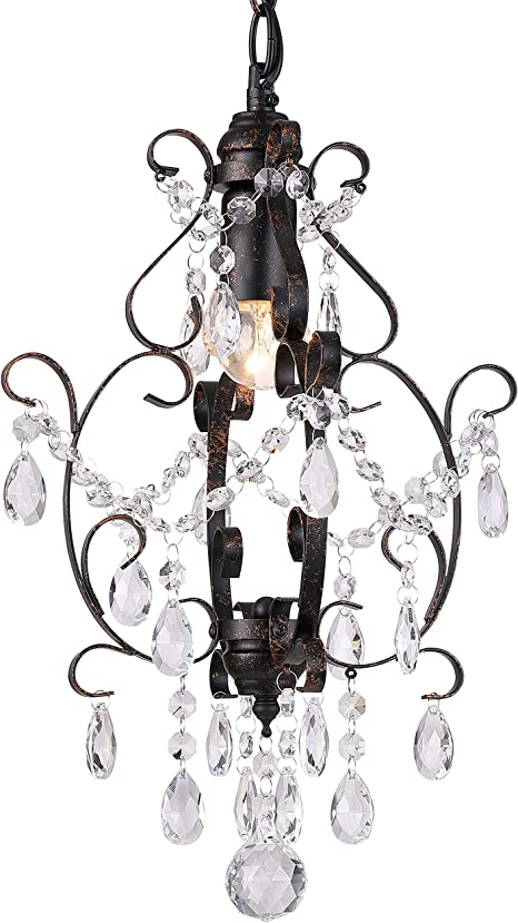 Riomasee Mini Chandelier Bronze Crystal Chandelier 1 Light Elegant Chandelier Crystal Iron Ceiling Light Fixture For Bathroom Foyer Bedroom Girls Room Amazon Com