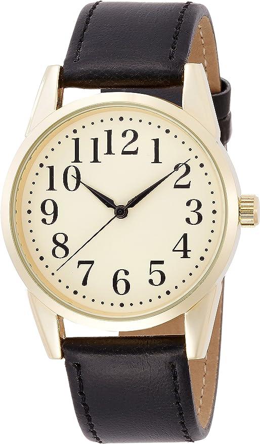 [フィールドワーク] 腕時計 アナログ カジュアルウォッチ 革ベルト クリーム 文字盤 WWP002-4 メンズ ブラック