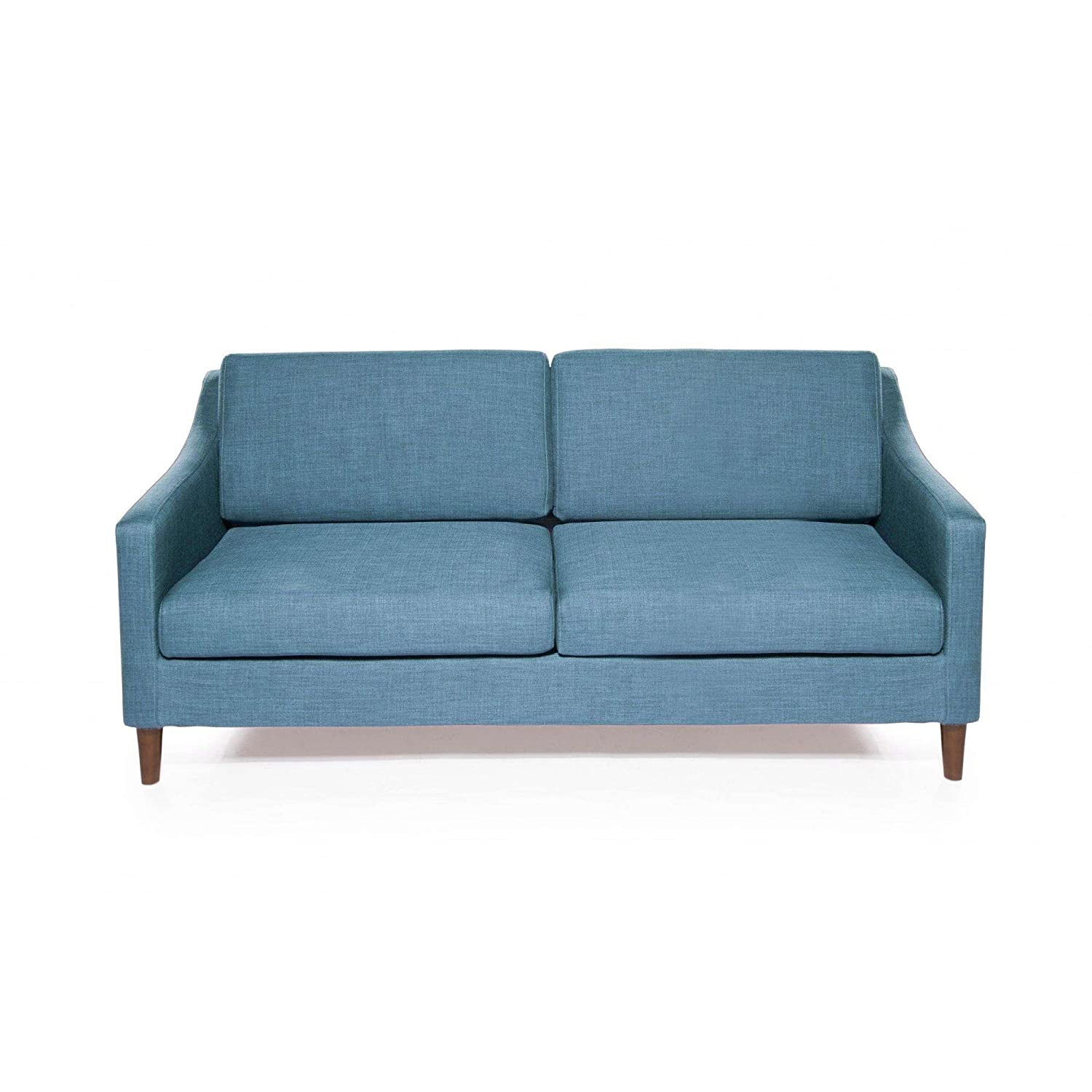 Sofa in blue stone finish grade woven fabric upholstery living room finish removable cover solid wood legs loveseat ottoman bundle with our expert