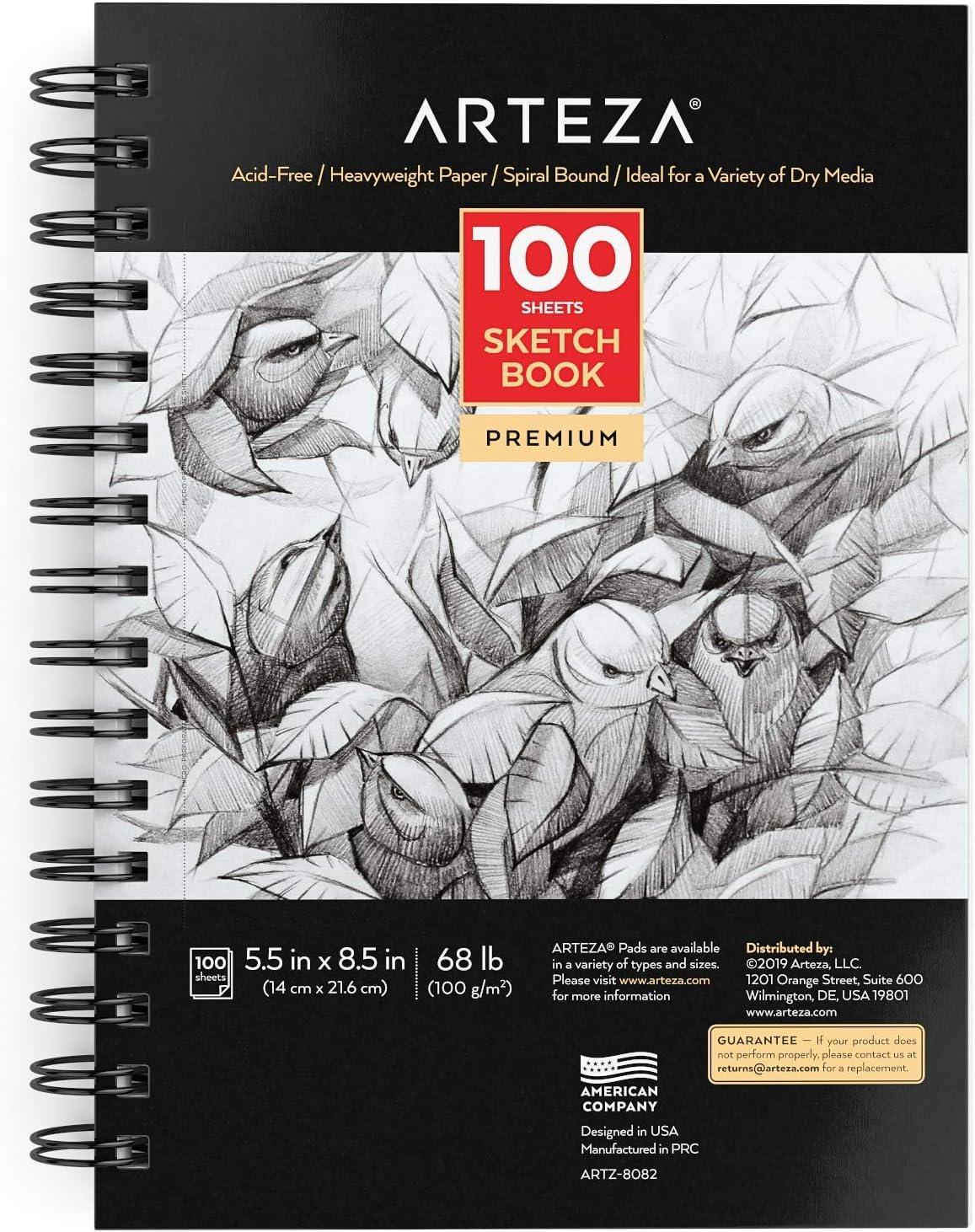 Arteza Cuadernos de dibujo, Tamaño 13,9 x 21,6 cm, Pack de 3 blocs en espiral de doble anilla, 100 hojas cada uno, Papel blanco brillante de 100 gsm para dibujo artístico sin
