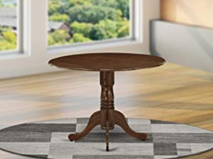 East West Furniture DLT-AWA-TP Dublin Dining Table Made of Rubber Wood with Two 9 Inch Drop Leaves, 42 Inch Round, Walnut Finish