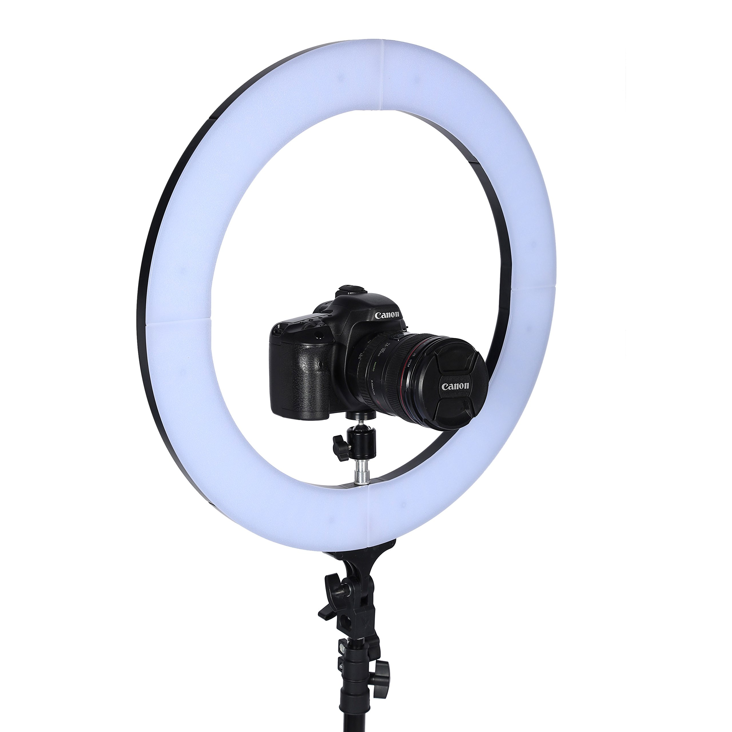 Awaytoy 18'' Adjustable LED Photography Ring Light for Portraits,Fashion Shot and Youtube Vine Self-portrait Video Capture