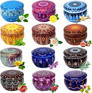 12 Constellations Scented Candles Gift Set 2.5oz Strong Fragrance Aromatherapy Candles Natural Soy Wax Portable Travel Tin Jar Candles for Birthday Valentine's Day Bath Yoga Home Decoration Gifts