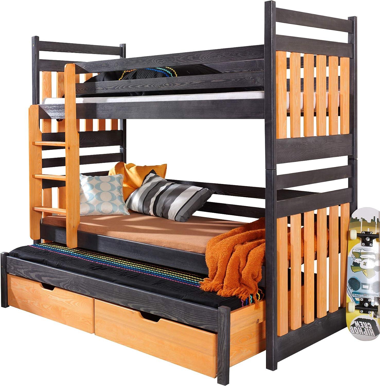 Etagenbett mit 3 Betten für Kinder - SAMBOR - massives Kiefernholz, mit Matratzen und Schubladen - Wenge Aquamarin Wenge Orange