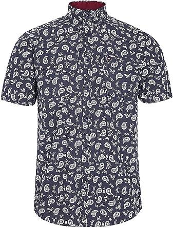 Merc London Retro Mod Fit Camisa de manga corta Paisley Alpha – Negro: Amazon.es: Ropa y accesorios