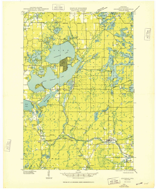 Amazon Com Yellowmaps Couderay Wi Topo Map 1 48000 Scale 15 X 15