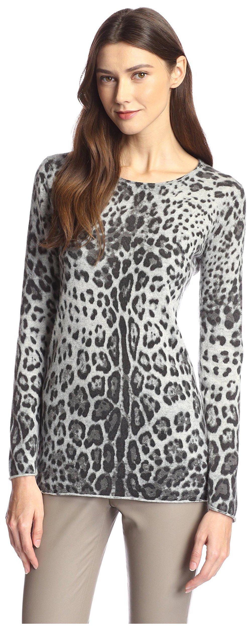 James & Erin Women's Cashmere Leopard Print Tunic, Grey Multi, S