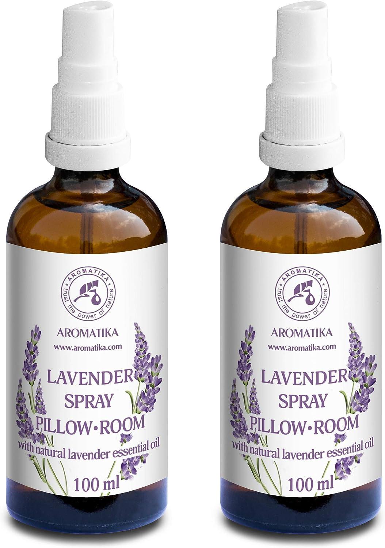 Spray de Aromaterapia de Lavanda 2 x 100ml - 100% Pura Aceite Esencial de Lavanda - Ideal para Yoga - Spray para Almohada - Relajación - Sueño y Spray para Habitación