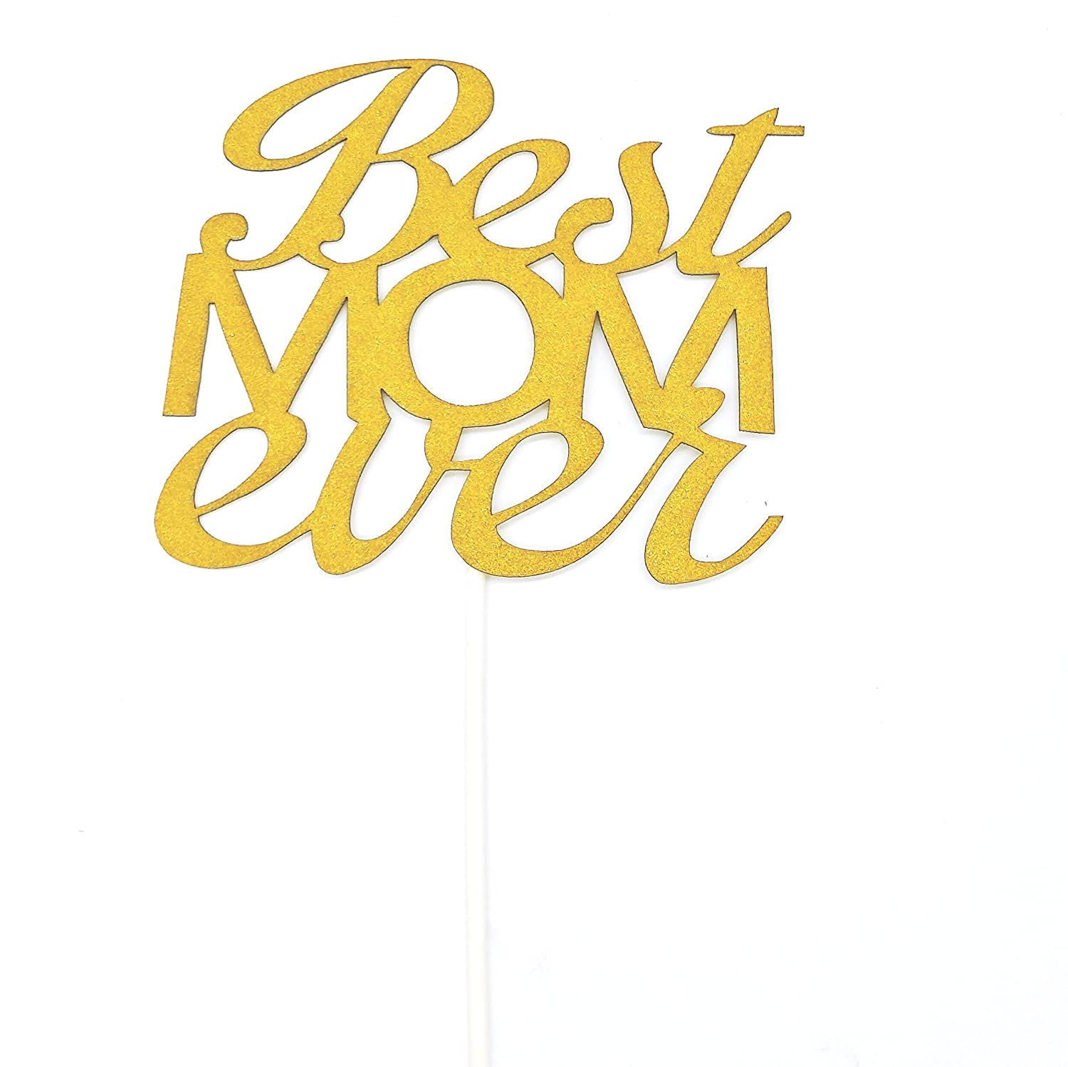 Gold Glitter Best Mom Ever Cake Topper for Mother's Day, Mother's Birthday Cake Decorations Set of 2