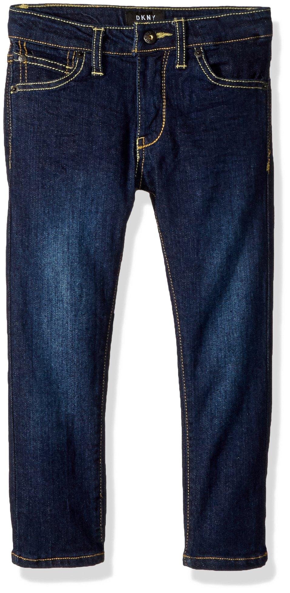 DKNY Little Boys' Mott Straight Fit Stretch Denim Jean, Dark Indigo, 7