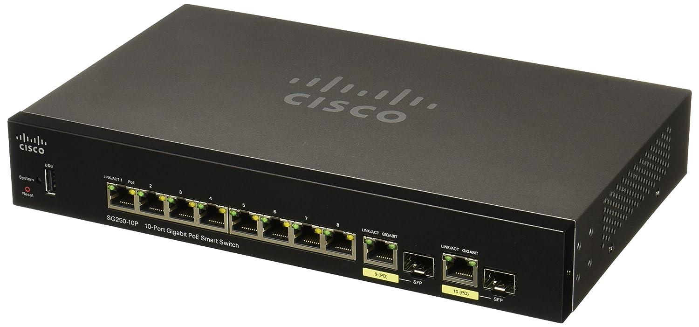 Cisco Systems Sg250 10p 10 Port Gigabit Poe Switch Sg25010pk9na Computers Accessories