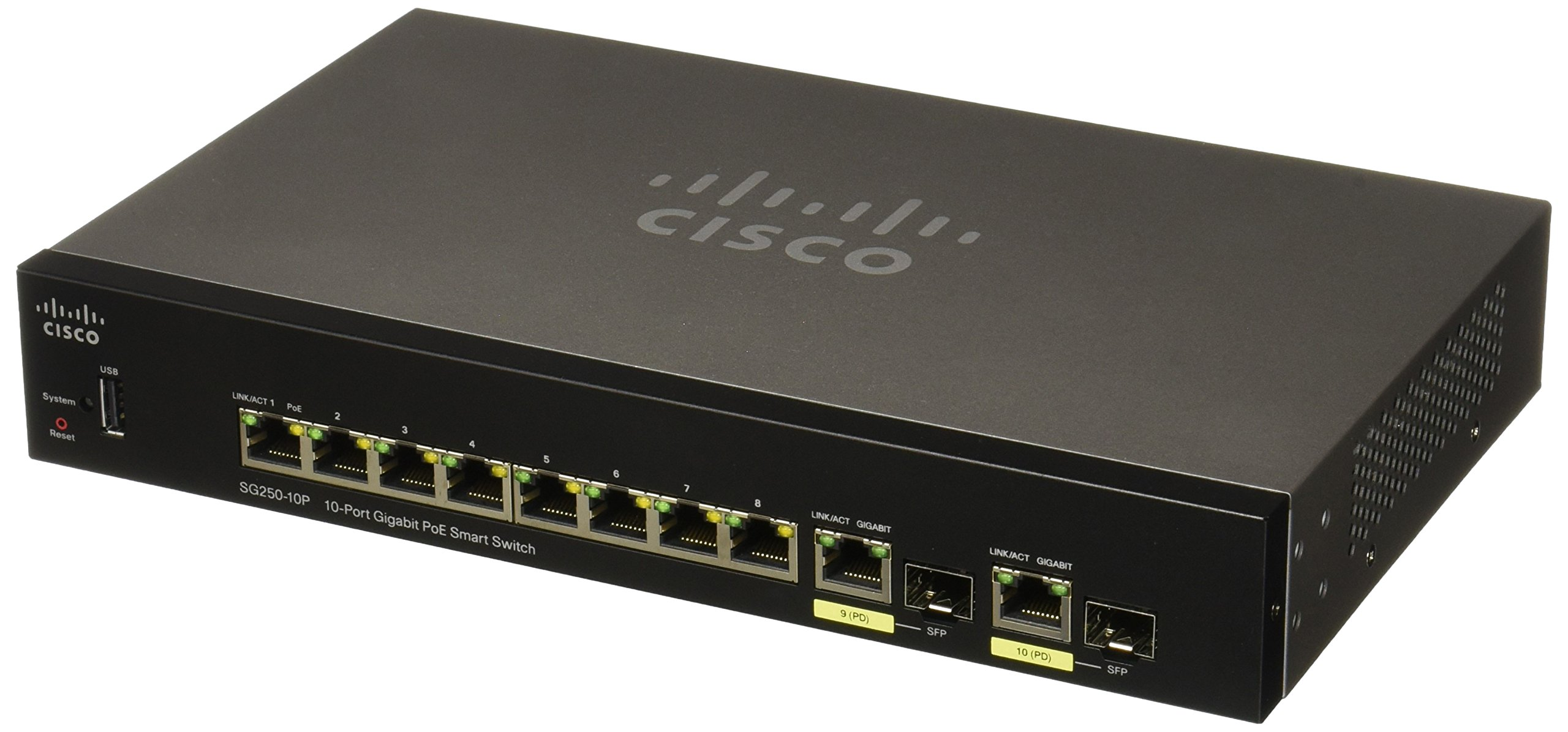 CISCO SYSTEMS Sg250-10P 10-Port Gigabit PoE Switch (SG25010PK9NA) by Cisco Systems
