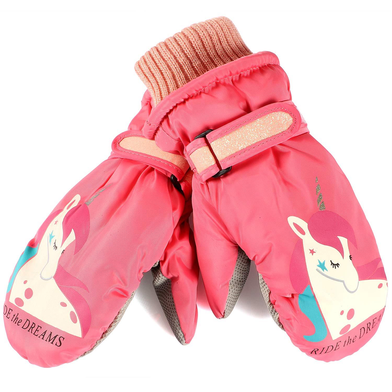 Ski Gloves Kids Waterproof Winter Warm Snowboard Gloves for Boys Girls 6-10 Years