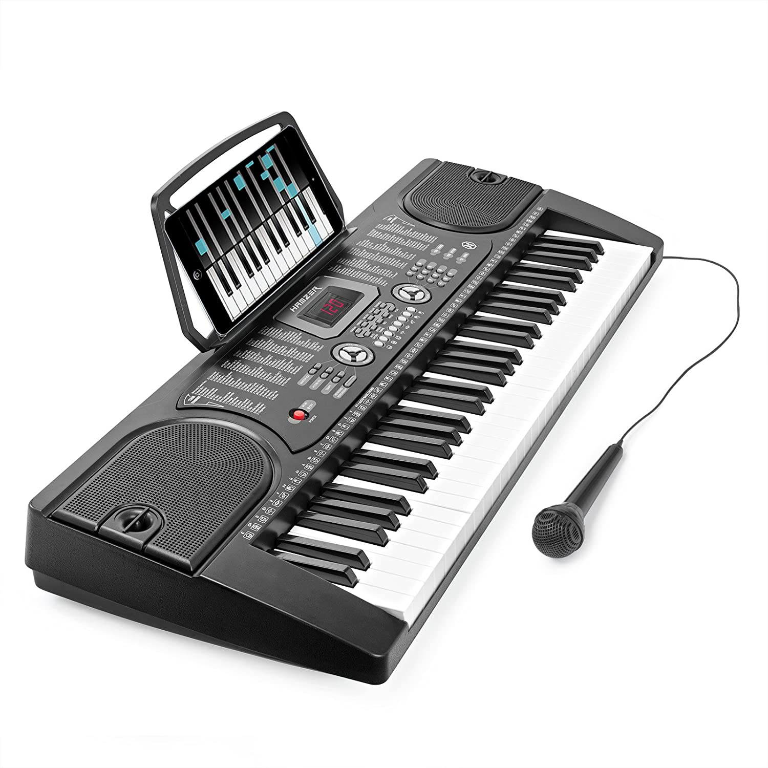 Digital piano keyboard with microphone