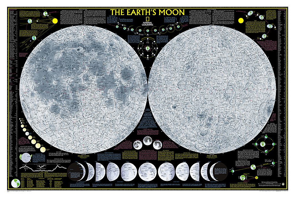 National Geographic: Earth's Moon Wall Map (42.5 x 28.5 inches) (National Geographic Reference Map)