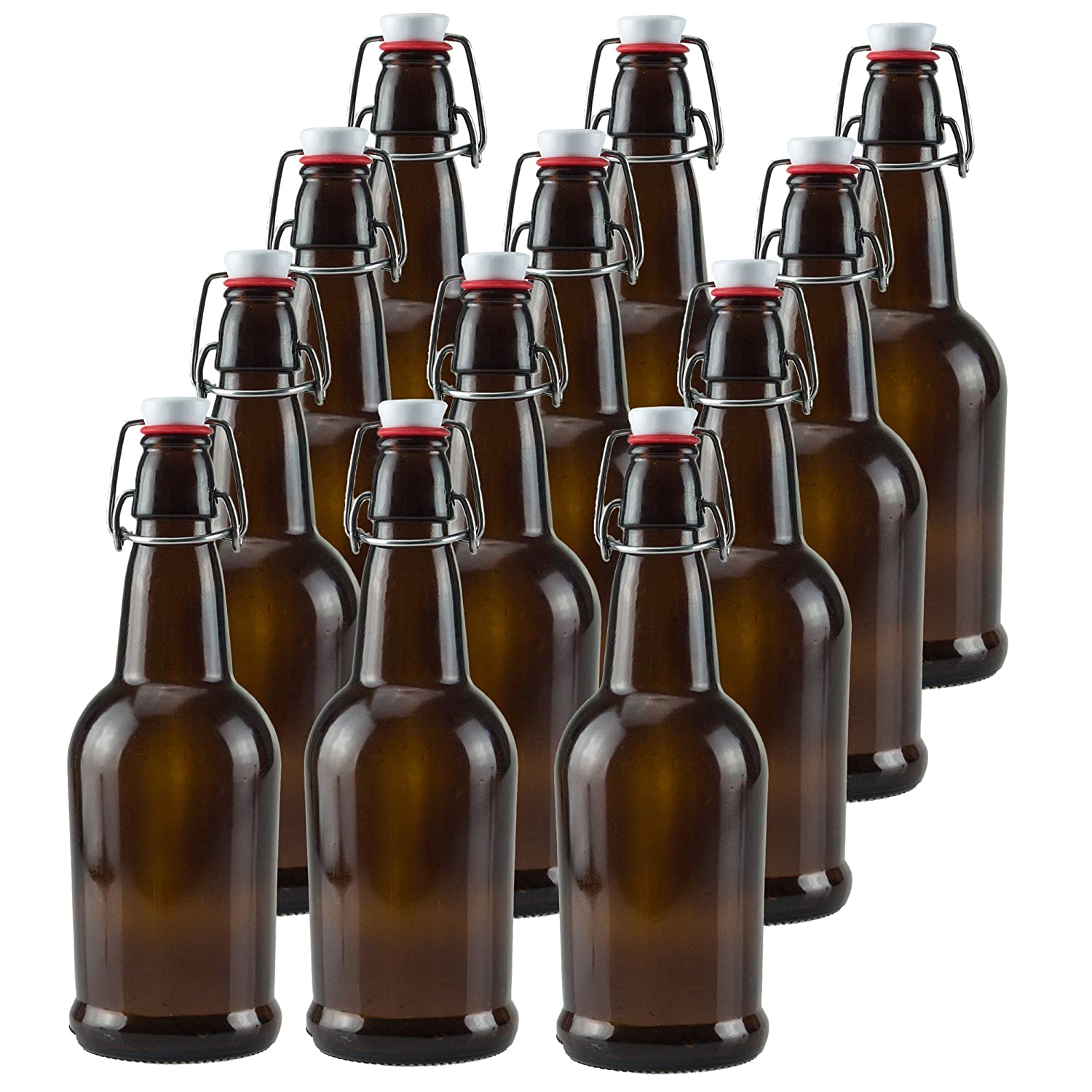 16 oz Amber Glass Beer Bottles for Home Brewing 6 Pack with Flip Caps Ilyapa IL-BTL16A-06