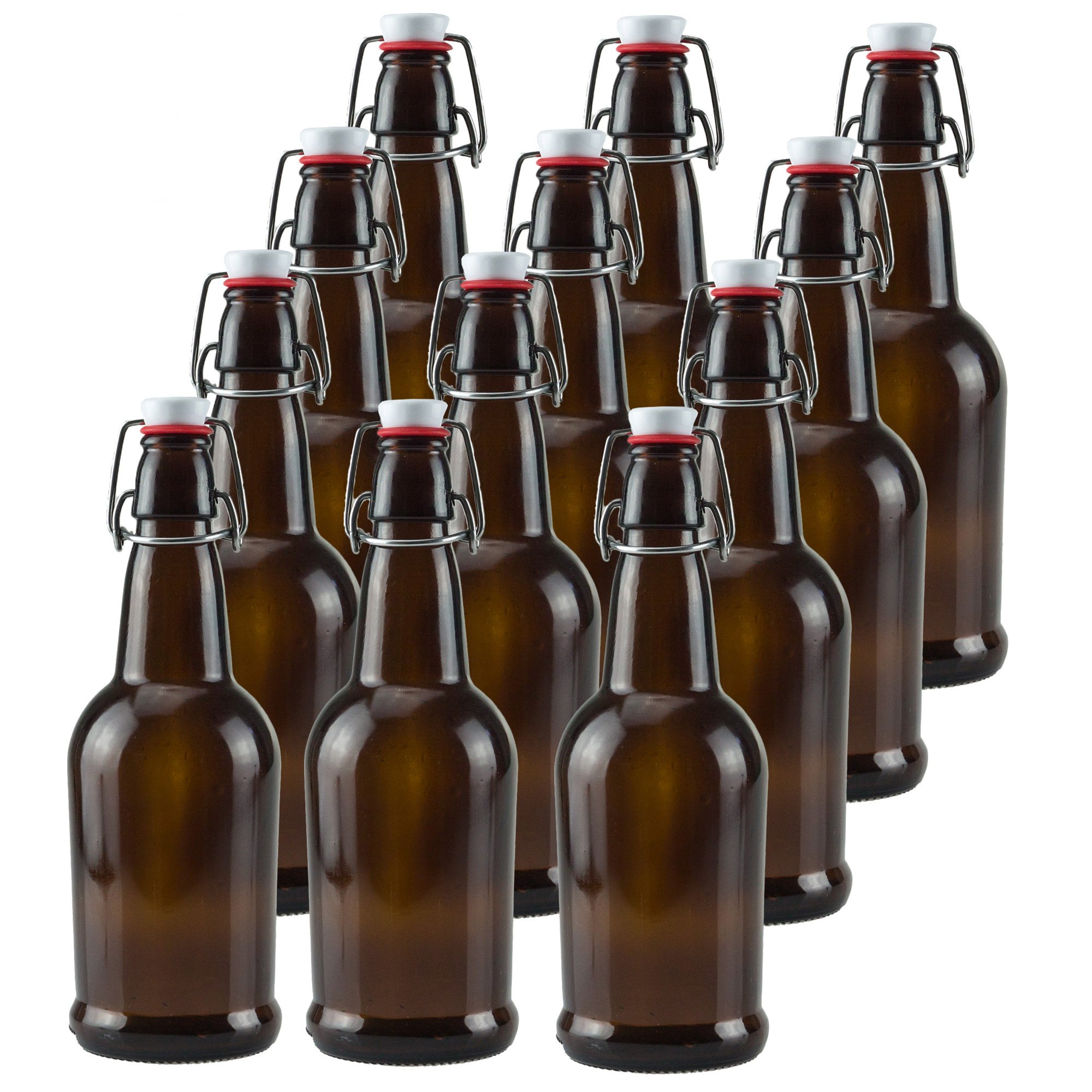 Ilyapa 16 oz Amber Glass Beer Bottles for Home Brewing 12 Pack with Flip Caps