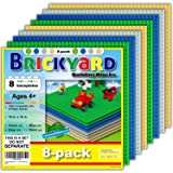 Brickyard Building Blocks 8 Baseplates, Improved Design 10 x 10 Inches Large Thick Base Plates for Building Bricks, for Activ