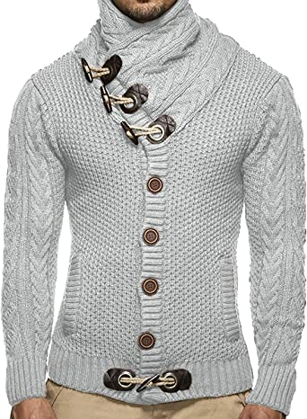 Domple Mens Warm Stud Details Long Sleeve Winter Knitting Turtleneck Pullover Sweater