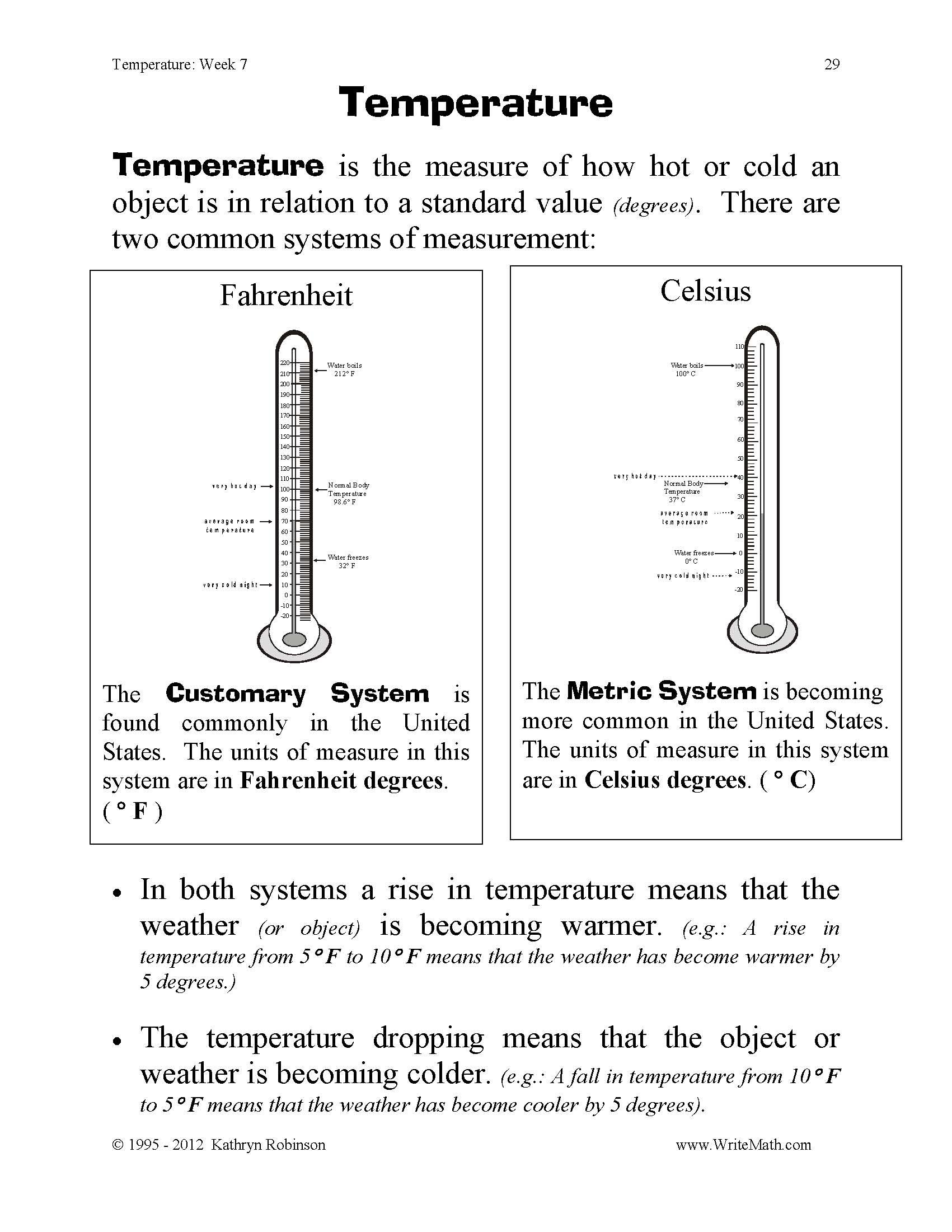 Temperature Worksheets – Measuring Temperature Worksheets