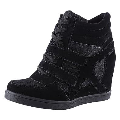 1ab7e2269196 ByPublicDemand Edie Womens Hidden Wedge Heel Shimmer Trainers Black Size 3  UK   36 EU