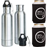 TWO Peek-a-Brew Stainless Steel Beer Bottle Insulators with (2) Beer Koozies and (2) bottle openers.
