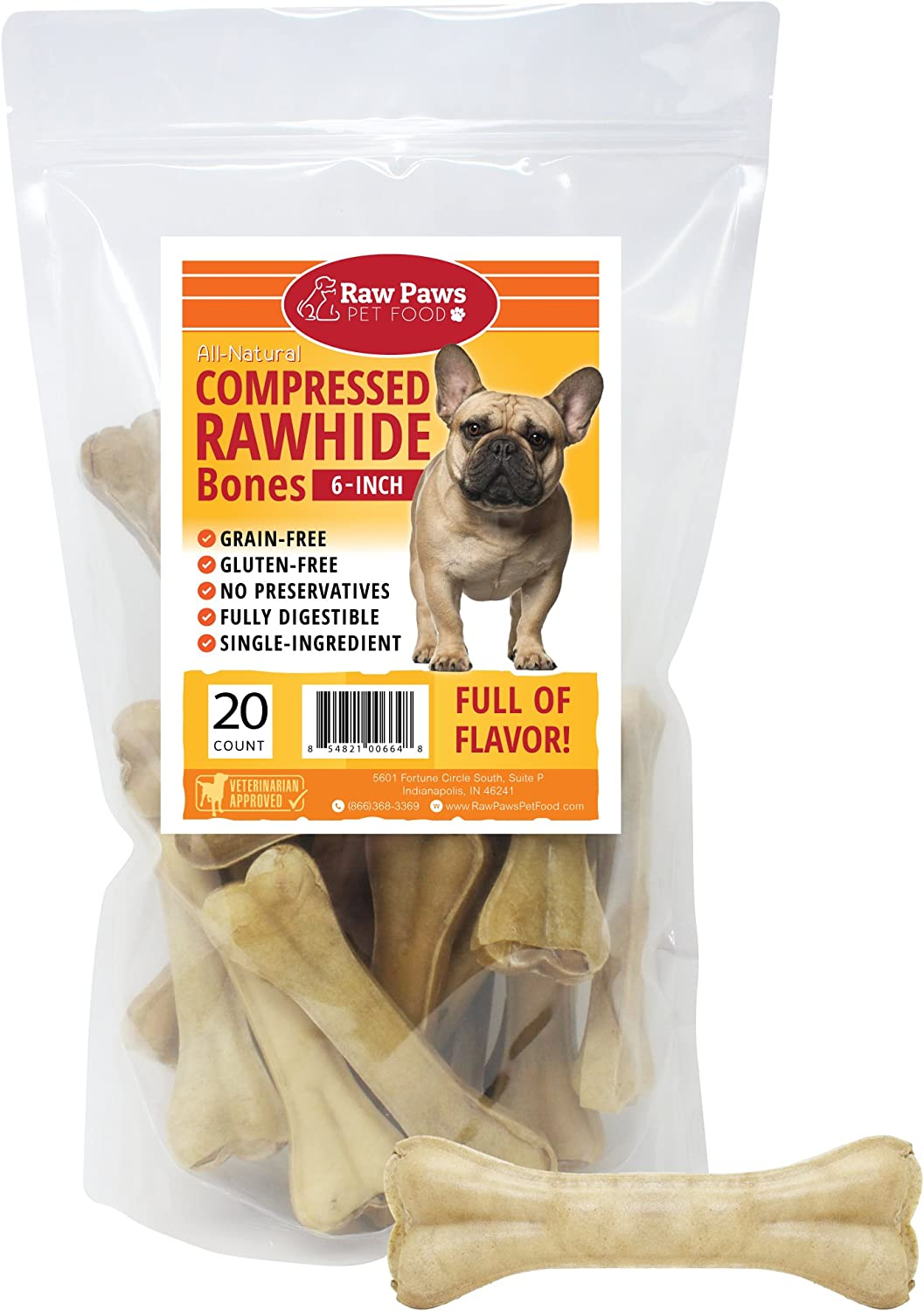 Raw Paws Pet Premium 6-inch Compressed Rawhide Bones for Dogs – Packed in USA – Long Lasting Dog Chews – Natural Pressed Rawhides – Medium Dog Bones – Beef Hide Bones for Aggressive Chewers