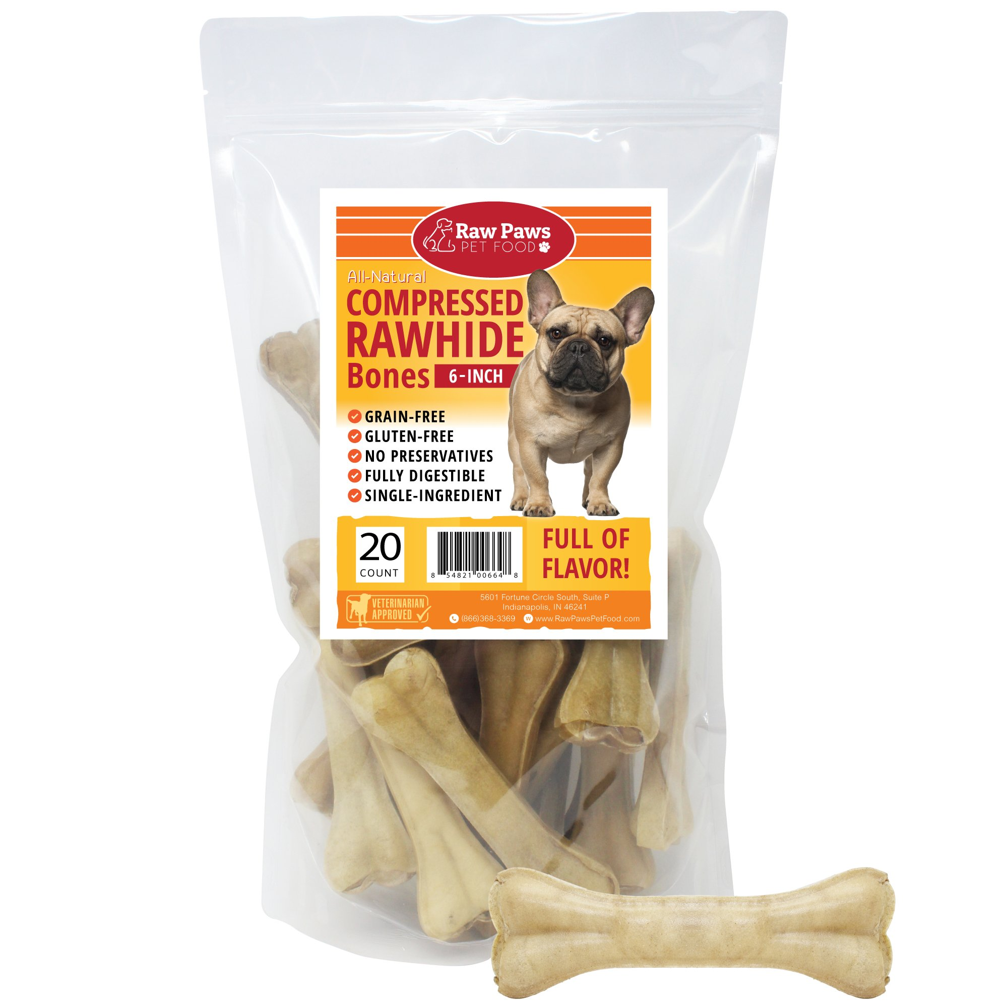 Raw Paws Pet Premium 6-inch Compressed Rawhide Bones for Dogs, 20-Count - Packed in USA - Long Lasting Dog Chews - Natural Pressed Rawhides - Medium Dog Bones - Beef Hide Bones for Aggressive Chewers