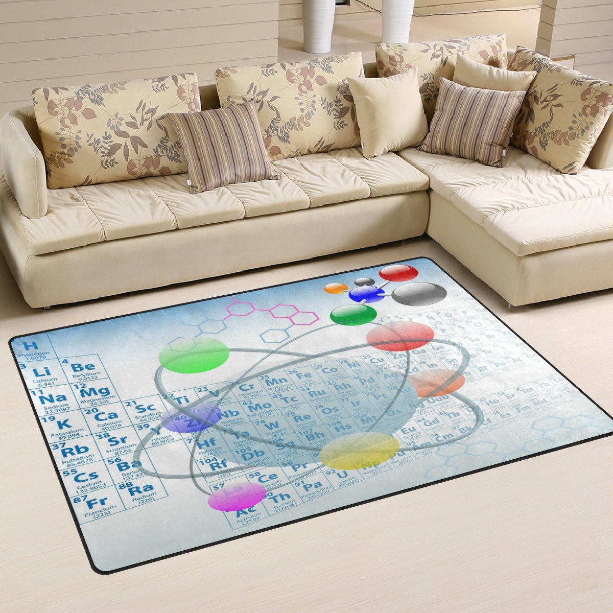 Amazon.com: WOZO Atomic Elements Periodic Table Atoms Area Rug Rugs Non-Slip Floor Mat Doormats for Living Room Bedroom 60 x 39 inches: Kitchen & Dining