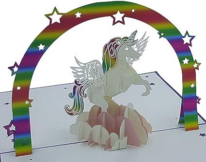 Tarjeta de cumpleaños 3D - Motivo: Unicornio - Tarjetas ...