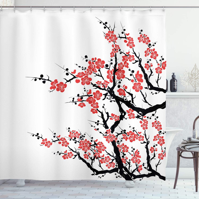 Ambesonne Asian Shower Curtain, Plum Tree Blossoms Japanese Spring Traditional Festival Seasonal Celebration Print, Cloth Fabric Bathroom Decor Set with Hooks, 70