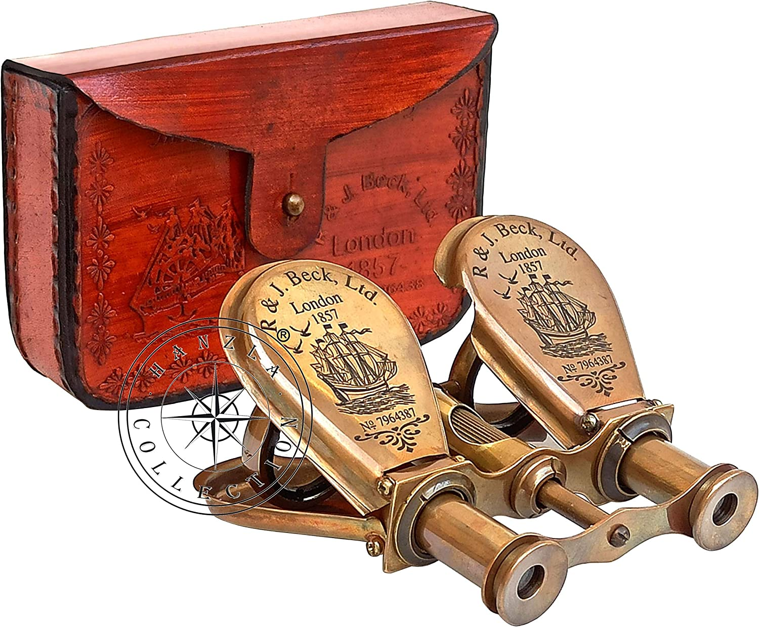Collectibles Buy Nautial Black Antique 1857 London Binocular Leather Case with Vintage Magnifying Brass Compass Combo