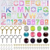 Apsung Alphabet Resin Silicone Molds Backward Letter Number Molds Glitter Sequins,Key Rings, Screw Eye Pins for Making…