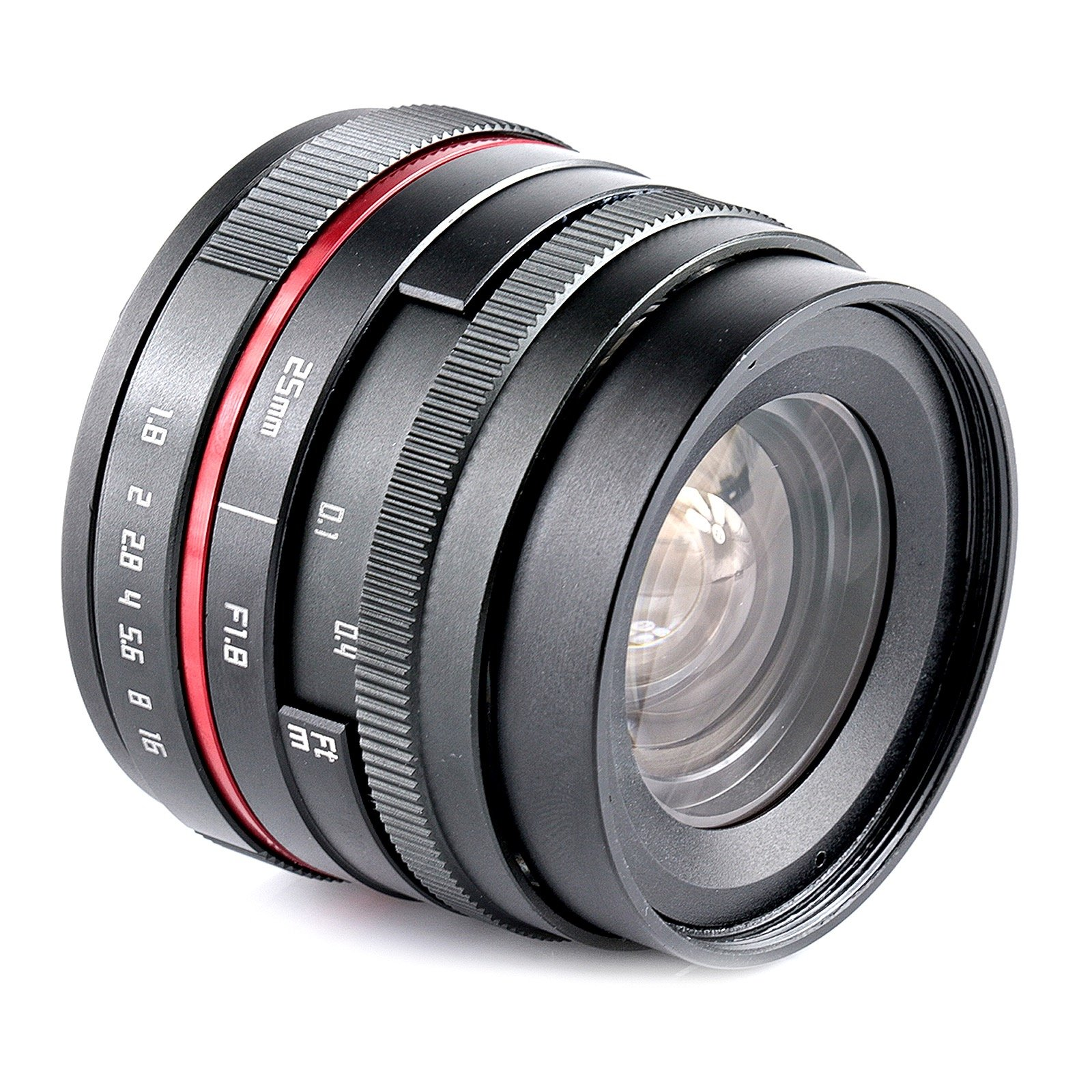 25 F1.8 red circle wide angle high definition lens with muti-coating glass for Micro 4/3 Olympus EM10 EM5II or Panasonic GH5 GF9
