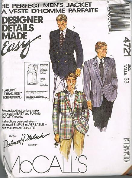 Amazon.com: McCall\'s 4721 Perfect Men\'s Jacket Sewing Pattern: Arts ...