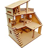 NEKBAL DIY Wooden Doll House with Furniture for Kids, Plywood Doll House with Open air Gym, Dollhouse Construction kit with Assembly Instructions, Wooden Doll House for Girls and Boys (Height 30 cm)