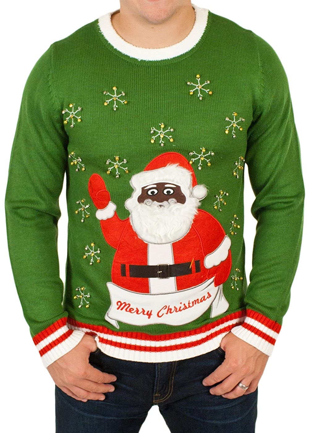Ugly Christmas Sweater - Black Santa Clause with Bells Holiday ...